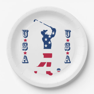 USA golf American flag golfer Paper Plate