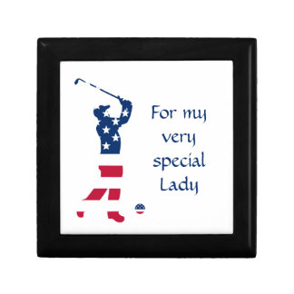 USA golf American flag golfer Small Square Gift Box