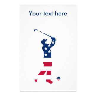 USA golf American flag golfer Stationery