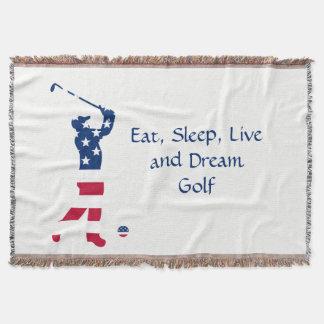 USA golf American flag golfer Throw Blanket