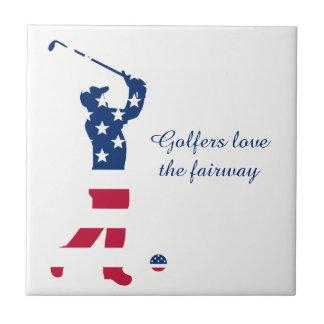 USA golf American flag golfer Tile