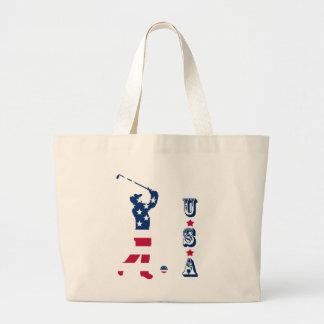 USA golf American golfer Large Tote Bag