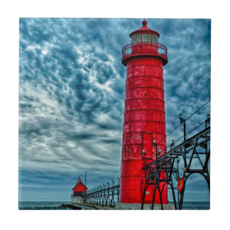 USA, Grand Haven, Michigan, lighthouse Small Square Tile