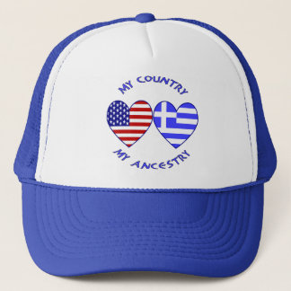 USA / Greek Country Ancestry Trucker Hat