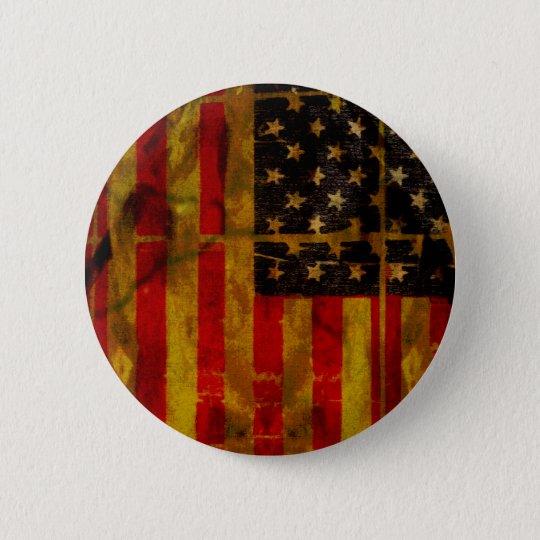 USA Grunge American Flag Button