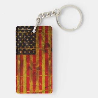 USA Grunge American Flag Double-Sided Rectangular Acrylic Key Ring