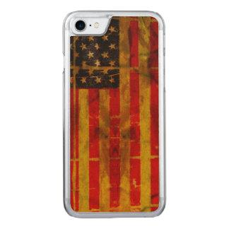 USA Grunge Flag iPhone 6 Slim Maple Wood Carved iPhone 8/7 Case