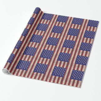 USA grunge flag themed stripes and stars Wrapping Paper