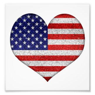Usa Grunge Heart Shape Flag Photographic Print