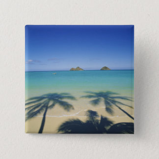 USA, Hawaii, Kailua. Lanikai Beach. 2 15 Cm Square Badge