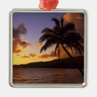 USA, Hawaii, Kauai, Colorful sunrise in a 2 Silver-Colored Square Decoration