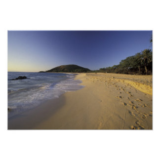 USA, Hawaii, Maui, Footprints in sand, Makena Poster