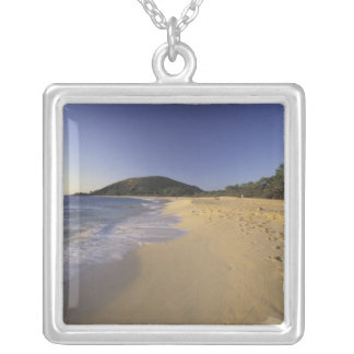 USA, Hawaii, Maui, Footprints in sand, Makena Silver Plated Necklace