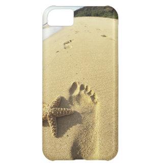 USA, Hawaii, Maui, Makena Beach, Footprint and iPhone 5C Case