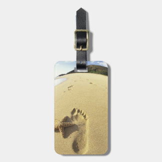 USA, Hawaii, Maui, Makena Beach, Footprint and Tag For Bags
