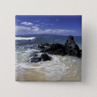 USA, Hawaii, Maui, Maui, Makena Beach, Surf on 15 Cm Square Badge