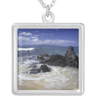 USA, Hawaii, Maui, Maui, Makena Beach, Surf on Silver Plated Necklace