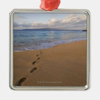 USA, Hawaii, Maui, Wailea, footprints on beach 2 Christmas Ornament
