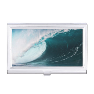 USA, Hawaii, Oahu, Large waves Business Card Holder