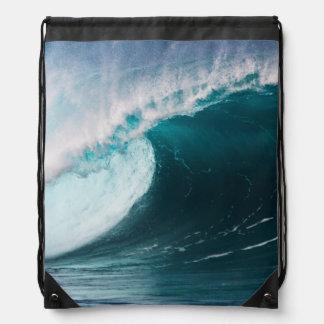 USA, Hawaii, Oahu, Large waves Drawstring Bag