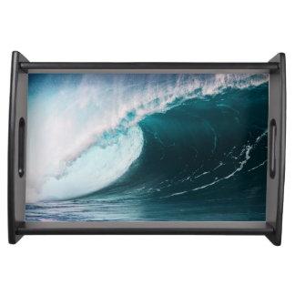 USA, Hawaii, Oahu, Large waves Serving Tray