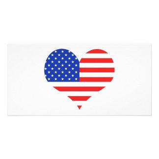 USA Heart Photo Greeting Card