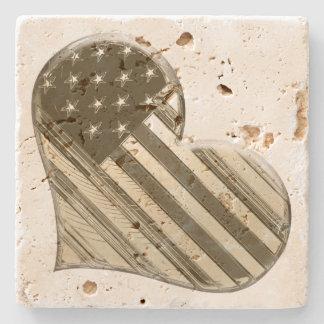 USA Heart Stone Coaster