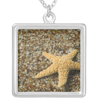 USA, HI, Kauai, Glass Beach with Star fish Silver Plated Necklace