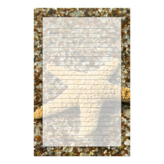 USA, HI, Kauai, Glass Beach with Star fish Stationery