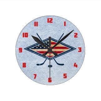 USA Hockey Round Wall Clock