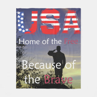 USA - Home of the Free Because of the Brave Fleece Blanket
