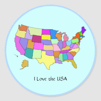 USA: I Love the USA, United States map Round Stickers