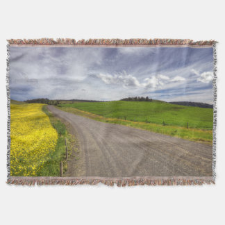 USA, Idaho, Idaho County, Canola Field Throw Blanket