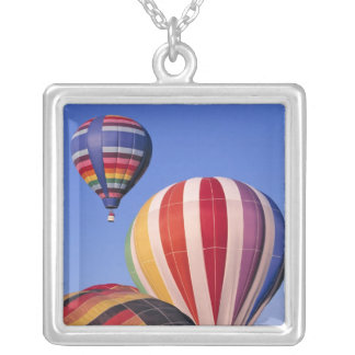 USA, Idaho, Teton Valley. Colorful hot-air Square Pendant Necklace