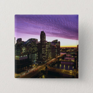 USA, IL, Chicago. Chicago skyline and river 15 Cm Square Badge