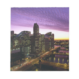 USA, IL, Chicago. Chicago skyline and river Notepad