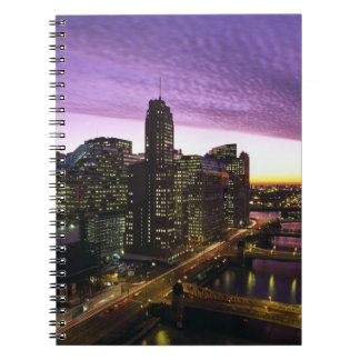 USA, IL, Chicago. Chicago skyline and river Spiral Notebooks