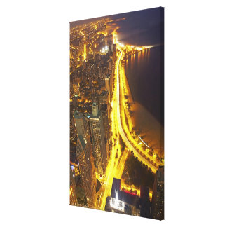 USA, Illinois, aerial view of Chicago at dusk Canvas Print