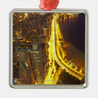 USA, Illinois, aerial view of Chicago at dusk Christmas Ornament
