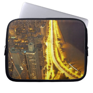 USA, Illinois, aerial view of Chicago at dusk Laptop Sleeve
