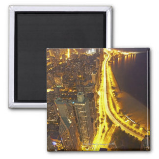 USA, Illinois, aerial view of Chicago at dusk Magnet