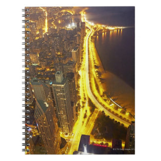 USA, Illinois, aerial view of Chicago at dusk Note Books