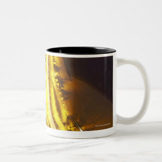 USA, Illinois, aerial view of Chicago at dusk Two-Tone Coffee Mug