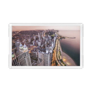 USA, Illinois, Chicago, Aerial view of Lake Acrylic Tray