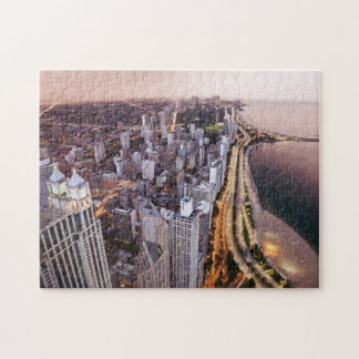 USA, Illinois, Chicago, Aerial view of Lake Jigsaw Puzzle