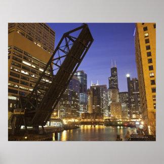 USA, Illinois, Chicago, Chicago River Poster