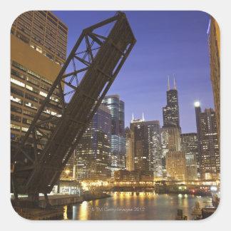 USA, Illinois, Chicago, Chicago River Square Sticker