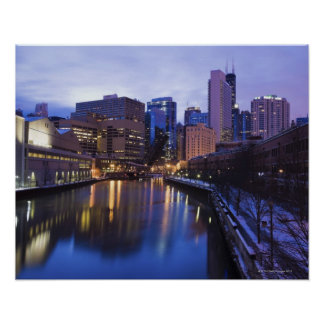 USA, Illinois, Chicago, City reflected in Poster