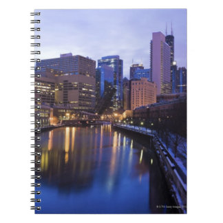 USA, Illinois, Chicago, City reflected in Spiral Notebook