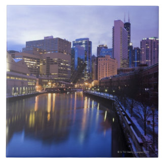USA, Illinois, Chicago, City reflected in Tile